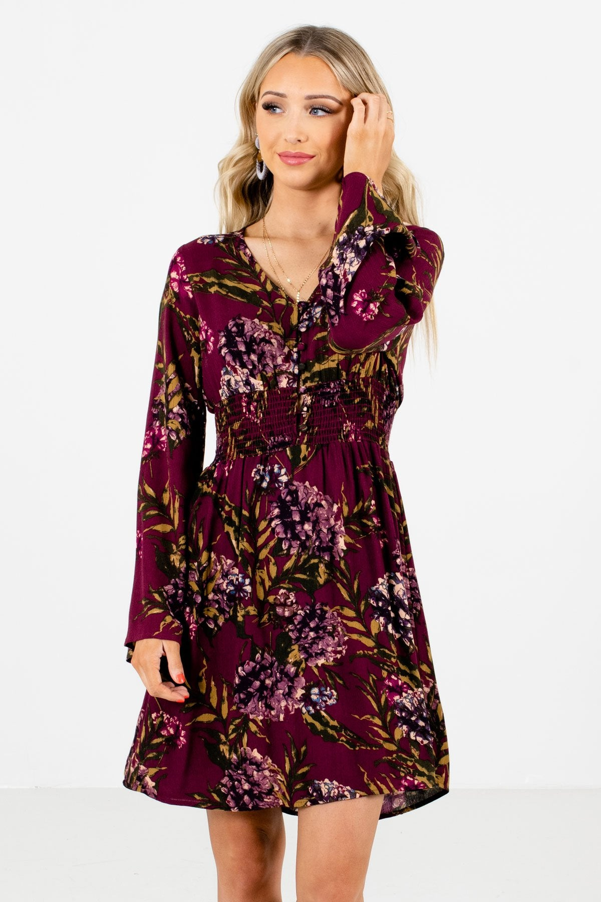 Purple Multicolored Floral Patterned Boutique Mini Dresses for Women