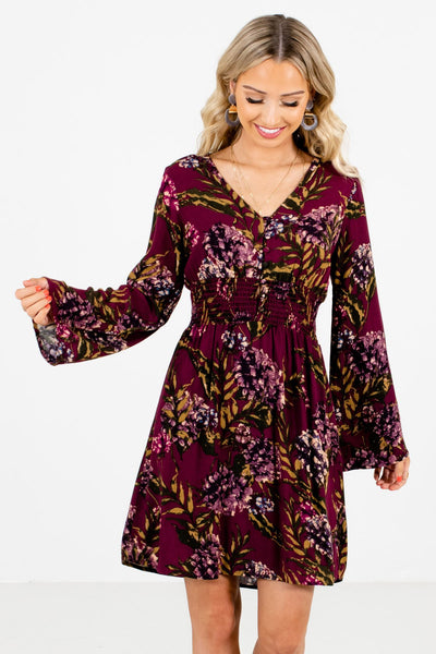 Women's Purple Long Sleeve Boutique Mini Dress