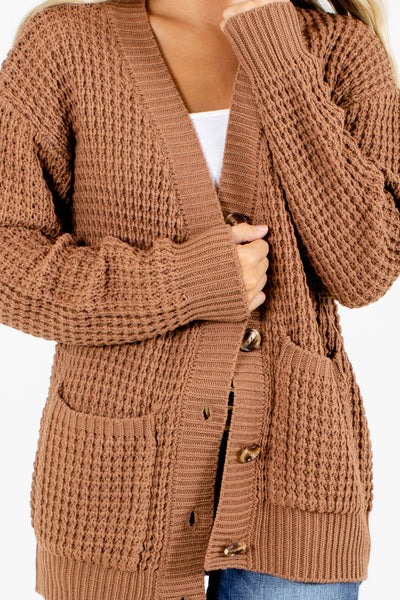 Women's Brown High-Quality Material Boutique Cardigan