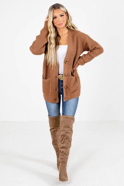 Brown Cute and Comfortable Boutique Cardigans for Women