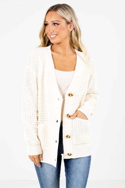 Cream V-Neckline Boutique Cardigans for Women