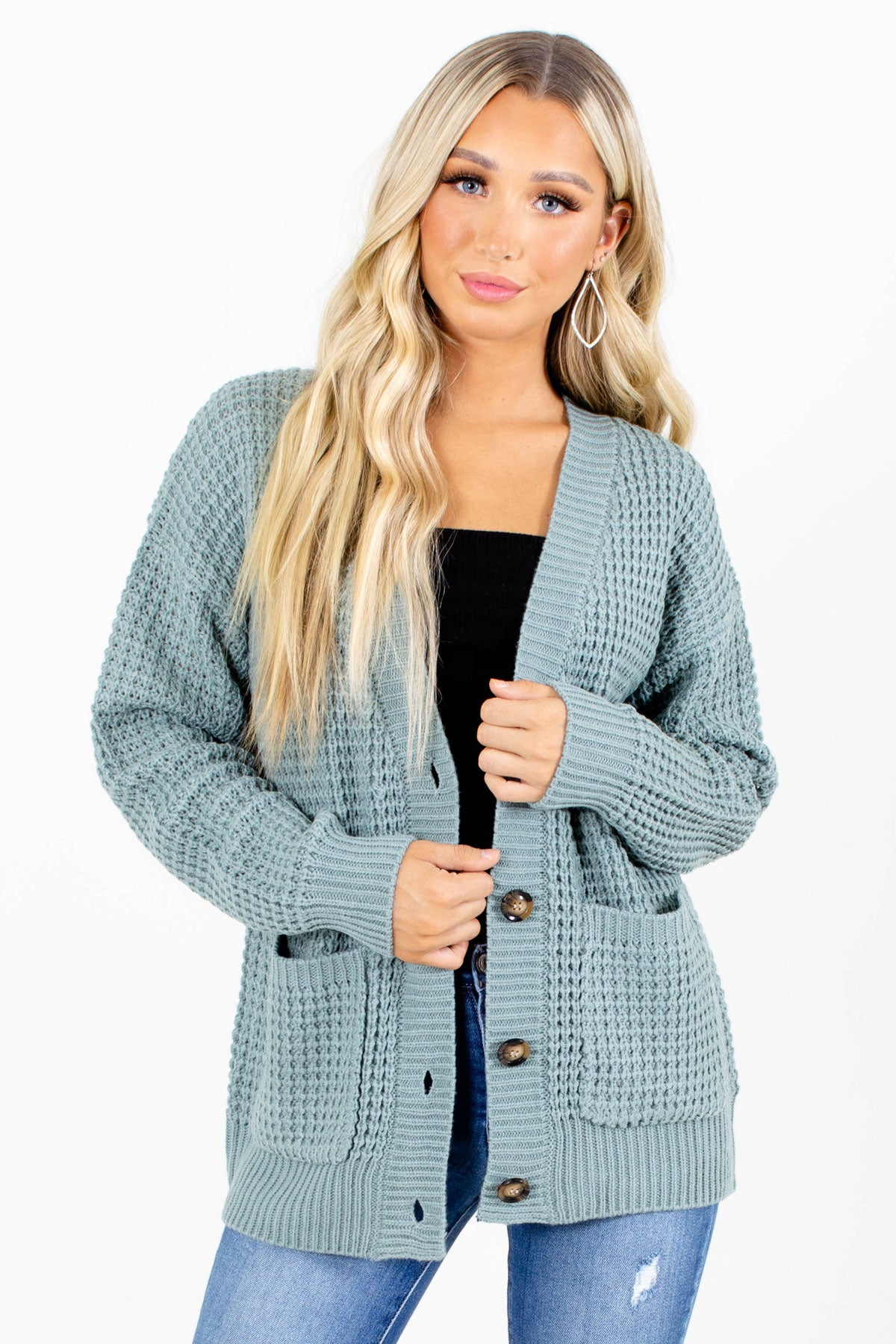 Green Button-Up Front Boutique Cardigans for Women