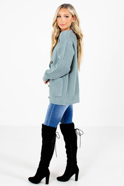 Women's Green Boutique Cardigan with Pockets