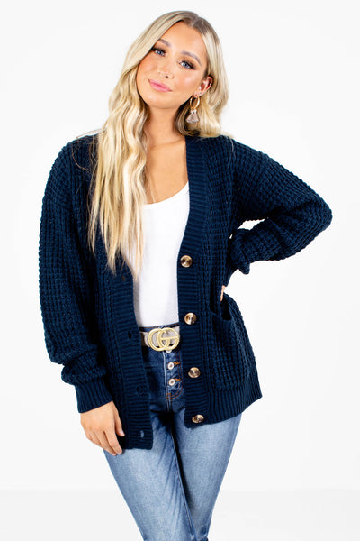 Navy Blue Button-Up Front Boutique Cardigans for Women
