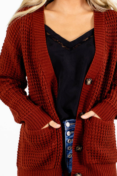 Rust Orange Cozy and Warm Boutique Cardigans for Women