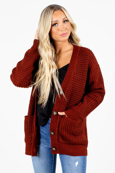 Women's Rust Long Sleeve Boutique Cardigan