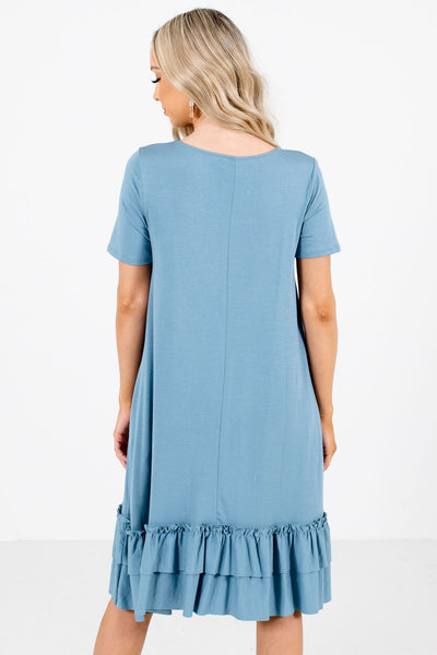 Women's Blue Round Neckline Boutique Knee-Length Dress