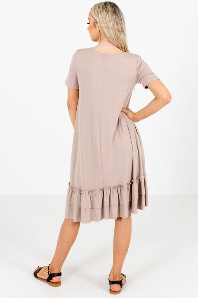 Brown Boutique Dresses with Pockets for Women