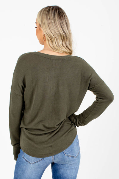 Women's Olive Green V-Neckline Boutique Top