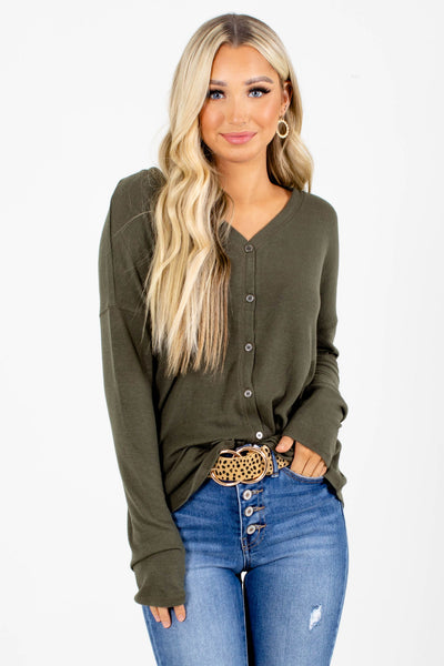 Olive Green Button-Up Boutique Tops for Women