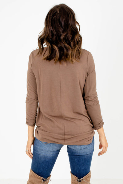 Women's Brown Long Sleeve Boutique Top