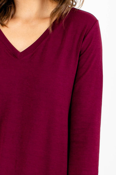 Women's Burgundy Flowy Silhouette Boutique Top