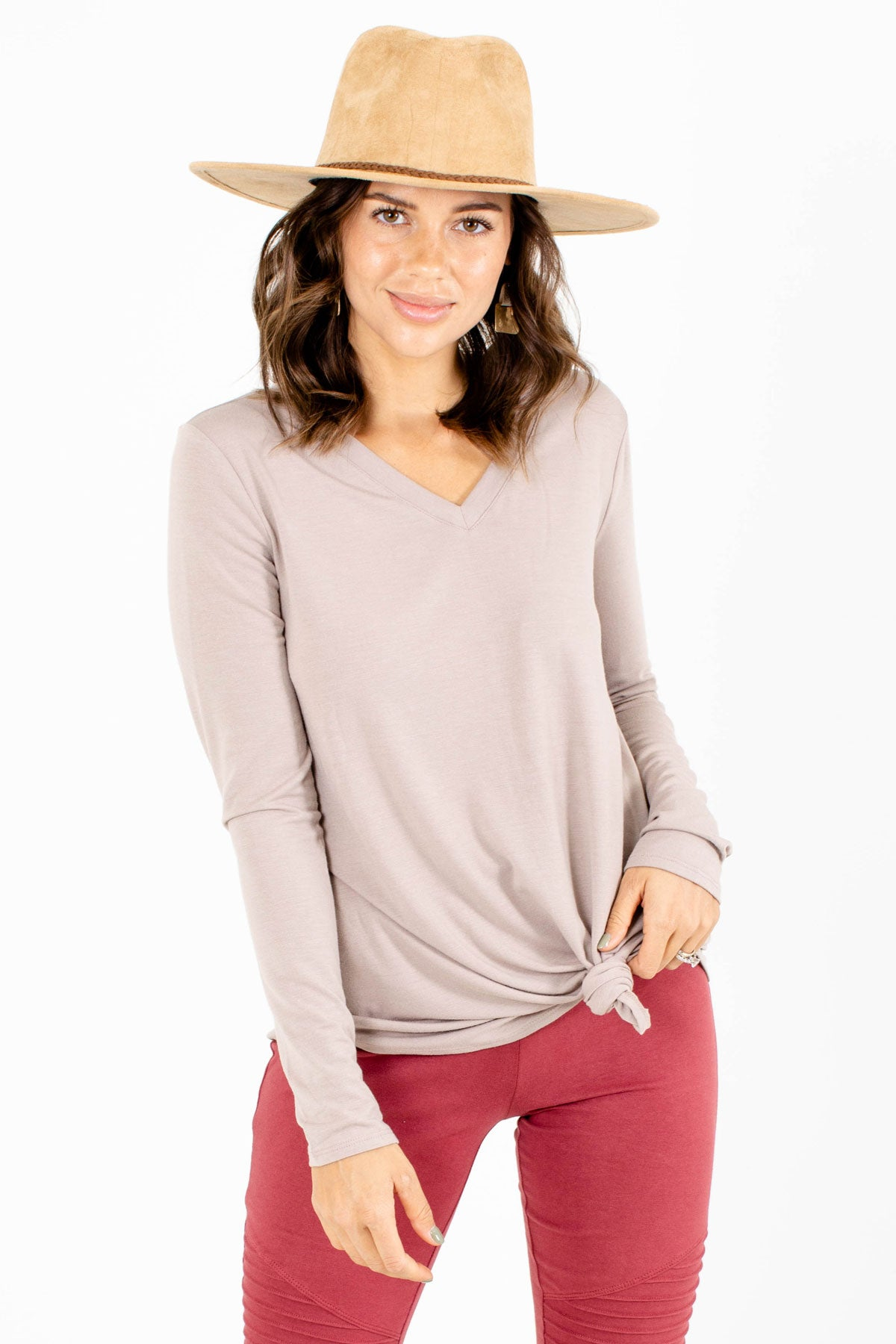 Brown V-Neckline Boutique Tops for Women