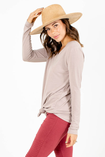 Women's Brown Long Sleeve Boutique Cardigan