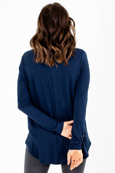 Women's Navy Business Causal Boutique Top