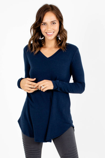 Navy Blue Layering Boutique Tops for Women