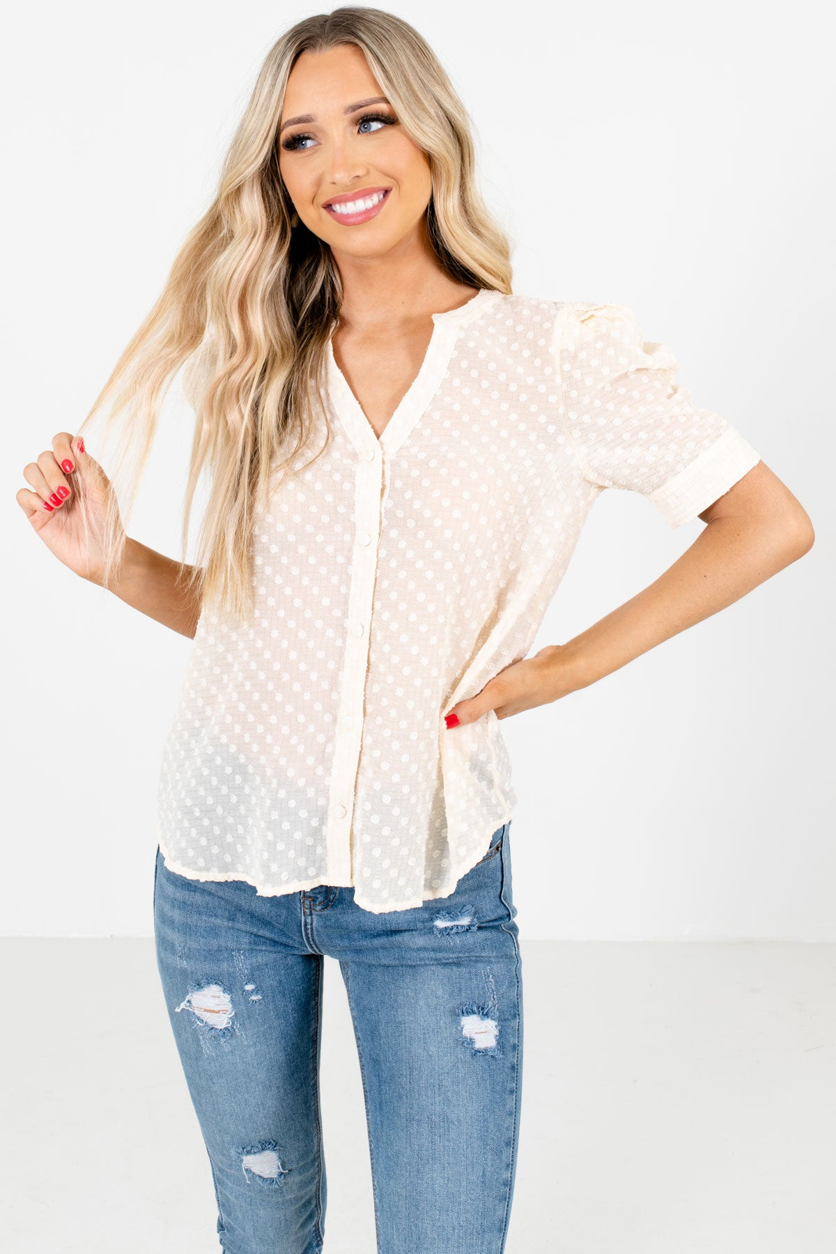 Cream Button-Up Front Boutique Blouses for Women