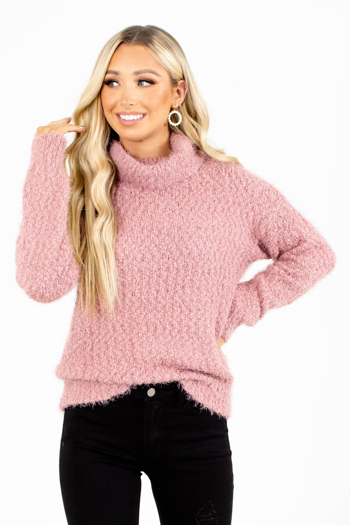 Pink Turtleneck Sweater for Women