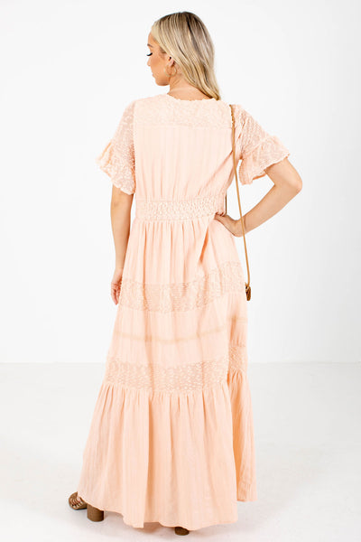 Women's Pink Mesh Accented Boutique Maxi Dress