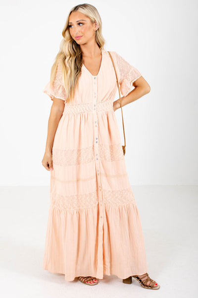 Pink Button-Up Front Boutique Maxi Dresses for Women