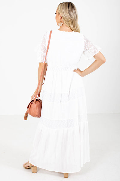 Women's White Fully Lined Boutique Maxi Dress