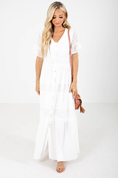 White Smocked Waistband Boutique Maxi Dresses for Women