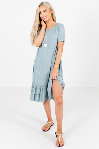 Green Cute and Comfortable Boutique Knee-Length Dresses for Women