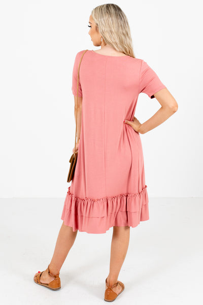 Pink Ruffled Hem Boutique Knee-Length Dresses for Women