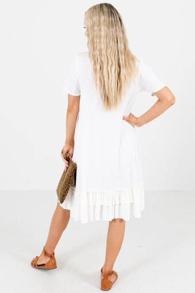 Women's White Boutique Dresses with Pockets