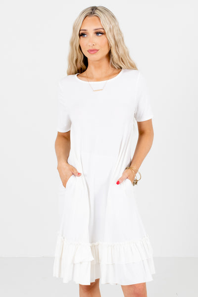 White Knee-Length Boutique Dresses for Women