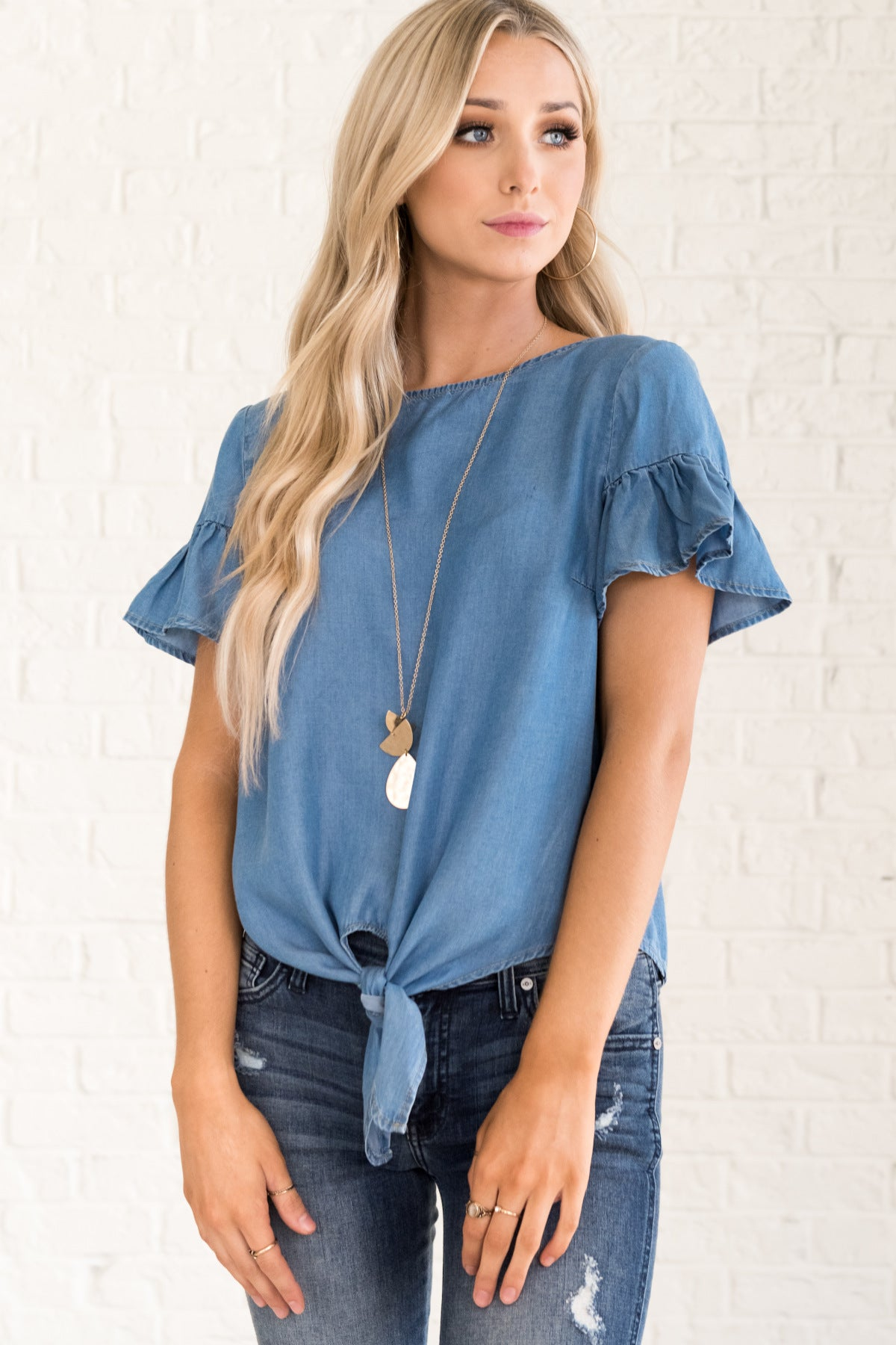 Blue Chambray Tie Front Tops for Women