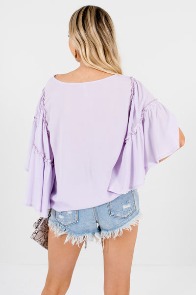 Lilac Purple Flowy Oversized Tops with Lettuce Trim Sleeves
