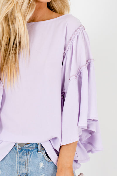 Lilac Purple Lettuce Trim Sleeves Oversized Flowy Tops for Women
