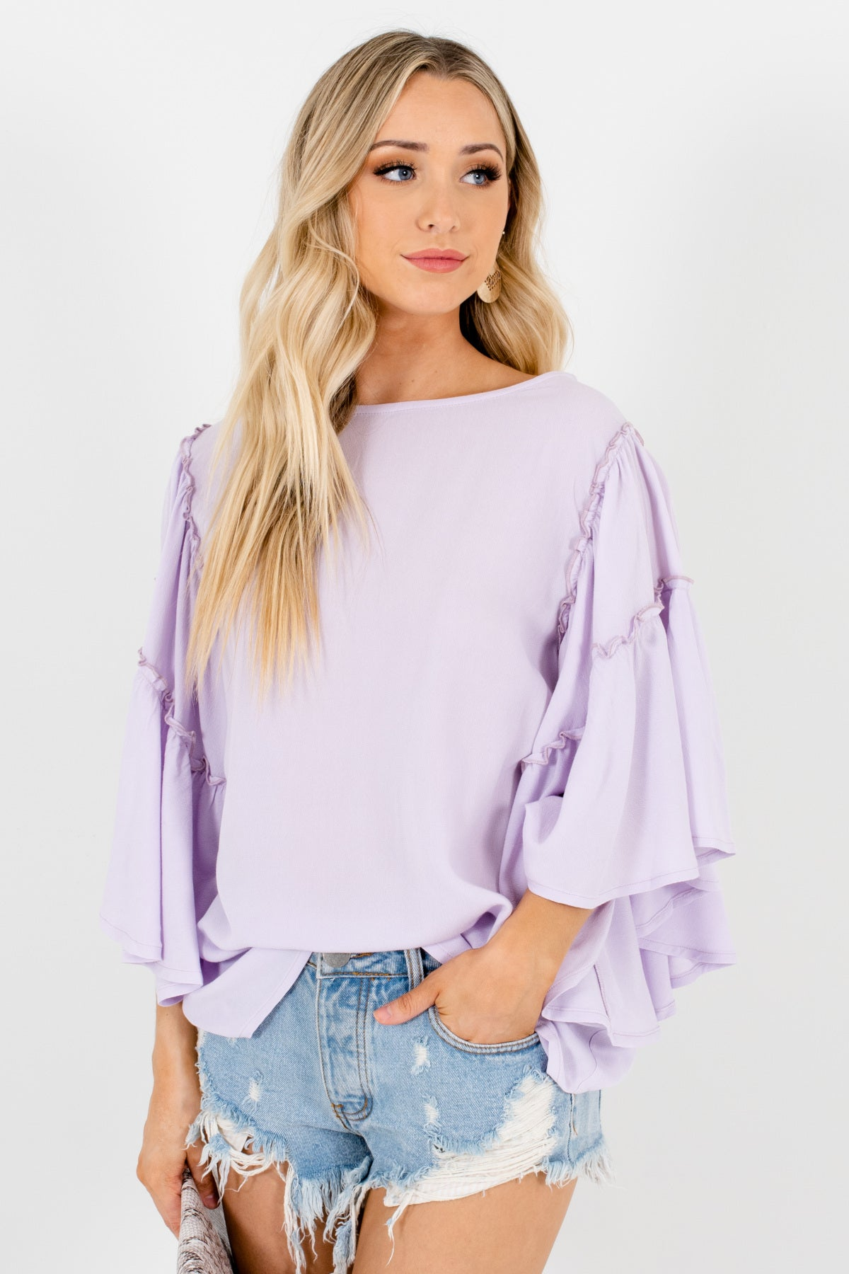 Lilac Purple Oversized Flowy Bohemian Chic Tops and Blouses