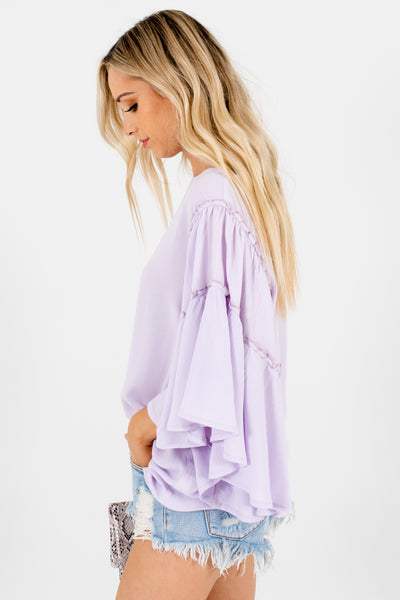 Lilac Purple Oversized Flowy Tops Affordable Online Boutique