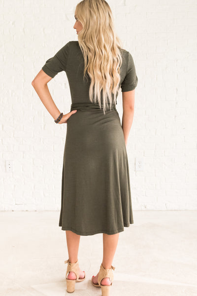 Olive Green Dressy Fall Clothing for Women