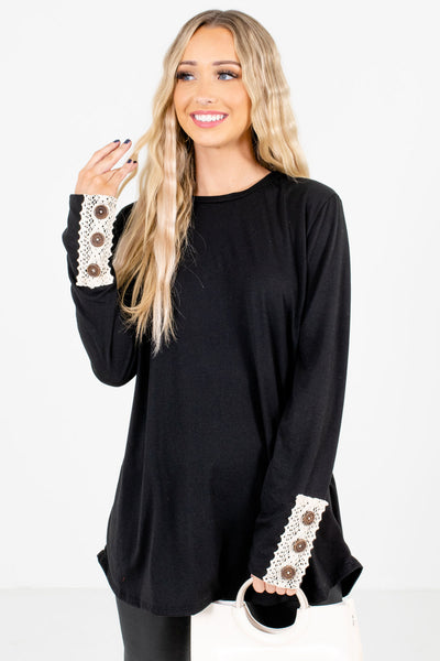 Women's Black High-Quality Material Boutique Tops