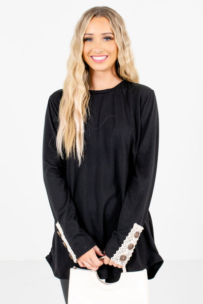 Women's Black Casual Everyday Boutique Tops