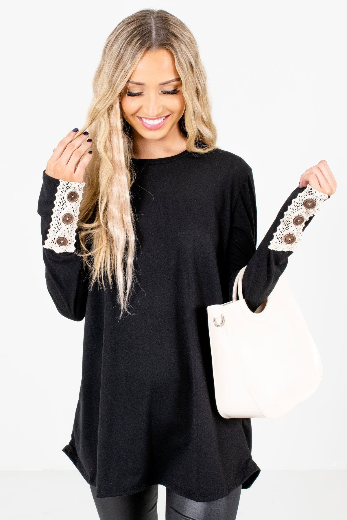 Black Lace Sleeve Accented Boutique Tops for Women