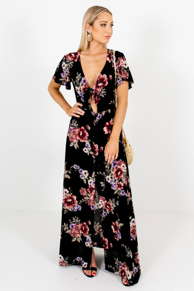 Black Multicolored Floral Patterned Boutique Maxi Dresses for Women