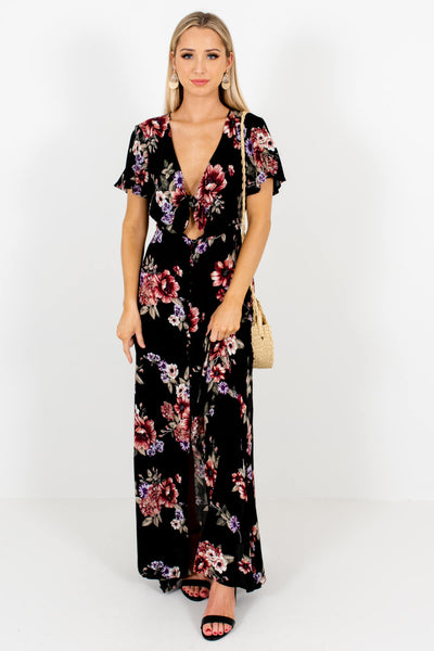 Black Floral Cute and Comfortable Boutique Maxi Dresses for Women