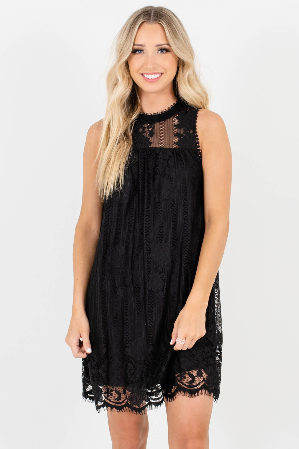 Black Lace Overlay Boutique Mini Dresses for Women