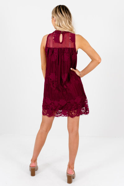 Women's Burgundy Red Keyhole Back Style Boutique Lace Mini Dress