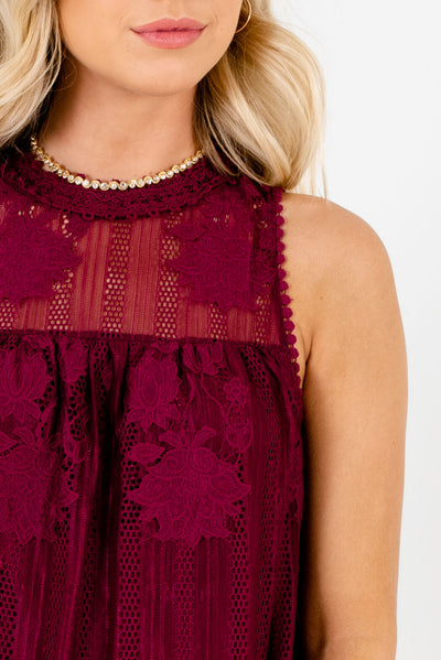 Burgundy Red Affordable Online Boutique Clothing for Women