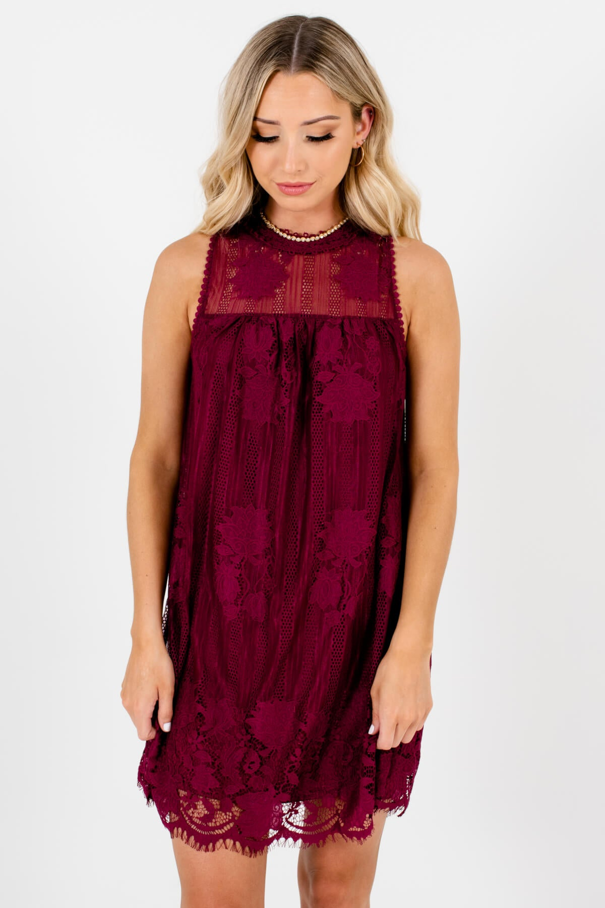 Burgundy Red Lace Overlay Boutique Mini Dresses for Women