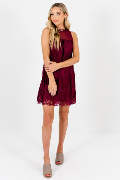 Burgundy Red Lace Cute and Comfortable Boutique Mini Dresses for Women