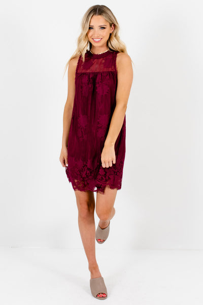 Burgundy Red Lace Special Occasion Lace Boutique Mini Dresses for Women