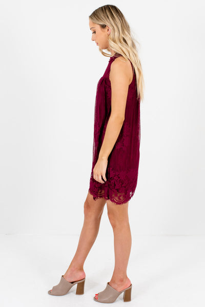Women's Burgundy Red High-Quality Semi-Sheer Boutique Mini Dress