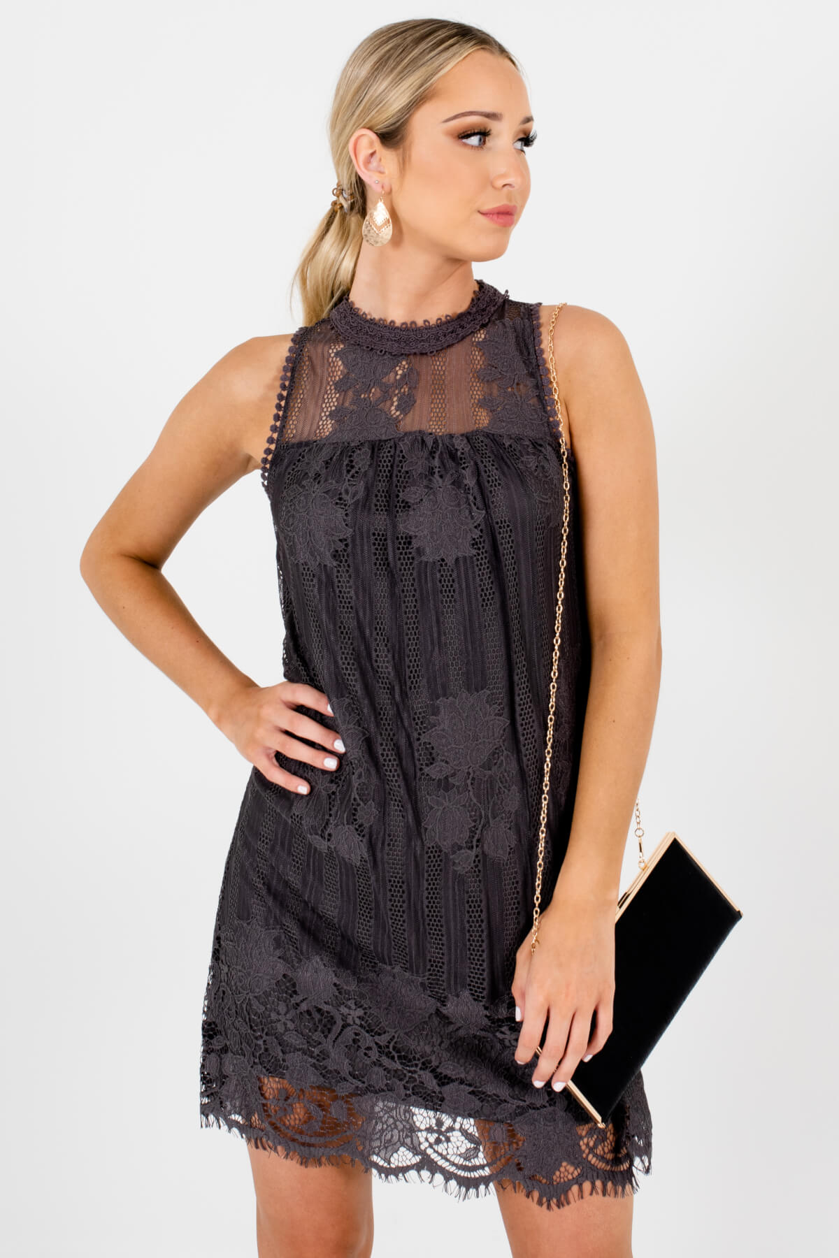 0e555353381 Charcoal Gray Lace Overlay Boutique Mini Dresses for Women