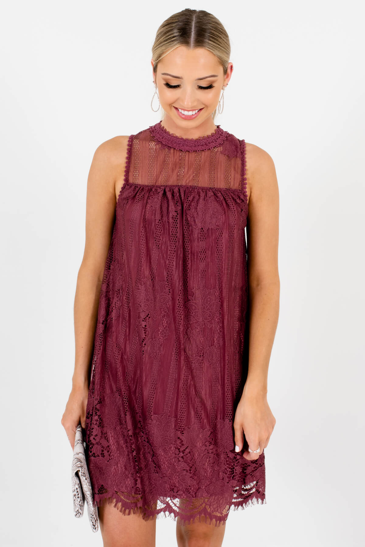 Purple Lace Overlay Boutique Mini Dresses for Women